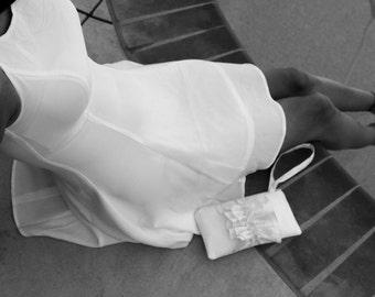 White Ruffle Bridal Wristlet- Bridal Purse with Wrist Strap