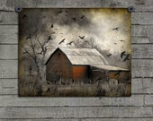 Nature, Faded Photograph, Aged Art, Pro Lab Art Print, Crows And Ravens Attack, Red Barn, Distressed Image, Bird Invasion -  Roguish Ravens