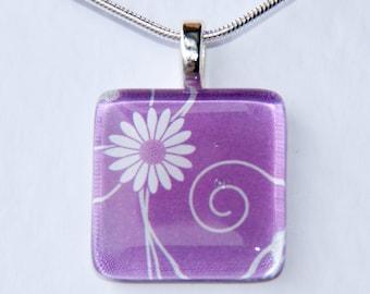 Handmade Glass Tile Purple Flower Pendant