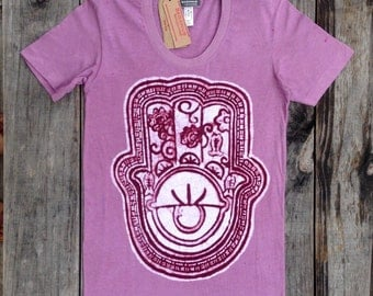 Hamsa Eco Friendly womens t shirt hand of Fatima batik tops and tees individually hand drawn hand painted & hand dyed old rose yoga clothes