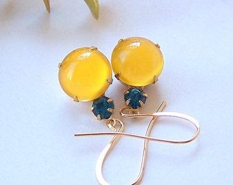 Yellow Glass Earrings, Swarovski Blue Zircon Crystal, Drop Earring Gold Earring Dangle Earring Wedding