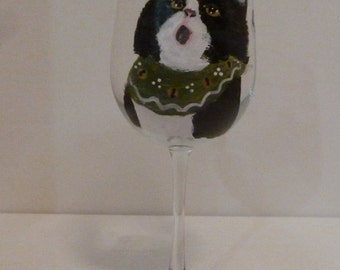 "Meowy Christmas Tuxedo Cat Wine Glass ""Clarissa the Caroler"" Pet Lovers Boutique Hand Painted"