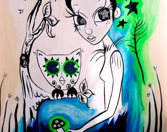peacock eyes. dream pixie original painting on wood art by elfmadchen.