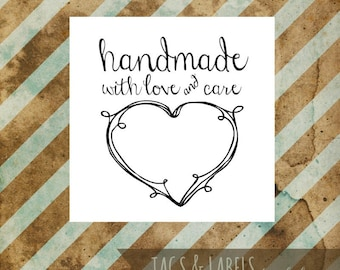 """Craft Show Tags - Printable PDF Labels - """"Handmade with Love and Care"""" - cute black and white product tag to print on your choice of paper"""