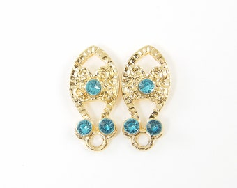 Aqua Rhinestone Gold Filigree Post Earring Findings - Dressy Jewelry Supply for DIY Bridal Special Occasion Jewel Post with Loop |B12-3|2
