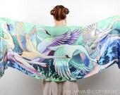 Swan Scarf, Swan Clothing, Turquoise Shawl, Something Blue, Blue Wedding Scarf, Bridal Gift, Sheer Shawl, Painted Scarf, Japanese Clothing