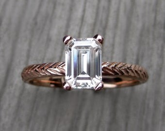 Emerald Moissanite Feather Engagement Ring: Yellow, White, or Rose Gold; Forever Brilliant ™