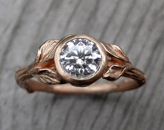 Moissanite Twig & Leaf Engagement Ring: White, Yellow, or Rose Gold; Forever Brilliant ™