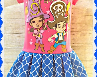 Jake Izzy dress neverland pirates girls 4 and 5/6 ready to ship
