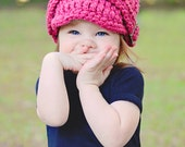 5 Sizes Raspberry Pink Baby Hat Baby Girl Hat Toddler Hat Toddler Girl Hat Womens Hat Crochet Winter Hat Knit Trendy Silver Buckle Beanie