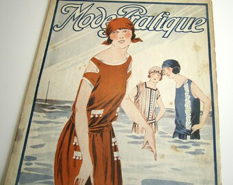 1920's Vintage French Magazine Mode Pratique June, 1922 Flapper Bathing Beauty Fashion and Sewing