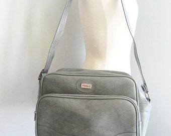 Vintage Grey Overnight Luggage Bag with Adjustable Shoulder Strap by Tomex