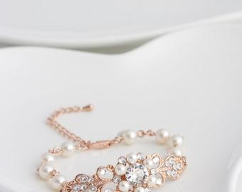 Wedding bracelets etsy rose gold bridal bracelet pearl rhinestone wedding bracelet vintage style filigree pink gold bracelet paris junglespirit Choice Image