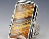Petrified Wood Ring, brown gray silver, size 8.5 ring, sterling silver, statement ring, wood ring, large ring, boho ring