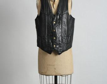 SALE- Leather Vest . Biker Wear