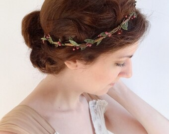 hair vine circlet, wedding headband, simple bridal hairpiece, mauve flower, rustic wedding, flower girl headband, mauve floral headpiece