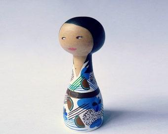 Custom Art Doll - OOAK - Personalized - Wooden art doll hand painted dress Asian girl black hair