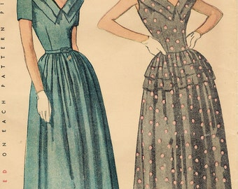 1940s Simplicity 2384 Vintage Sewing Pattern Misses Formal Dress Size 16 Bust 34