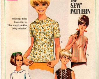 Vintage UNCUT Simplicity Pattern 7457 - Misses Simple-to-Sew Blouse - A How-to-Sew Pattern - Size 12