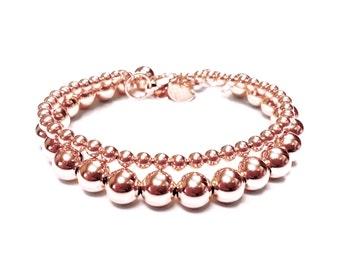 Set of Two (2) Bead Bracelets in 14K Rose Gold Filled - 4mm and 8mm Rounds - 14K Rose Gold Ball Bracelet - Simple Rose Gold Bracelet