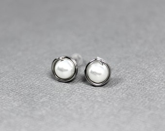 White Studs Earrings, White Pearl Earrings, Stainless Steel Studs, Wire Wrapped Posts, White Earrings, Pearl Studs, Wedding Jewelry