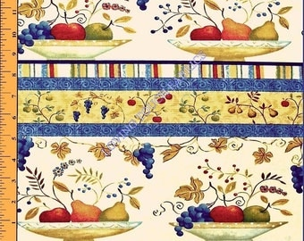 "SSI ""Fresh Off The Vine"" Kitchen Fruit Bowl Apples Pears Grapes Striped Cotton Fabric By The Yard 36"" x 44"""