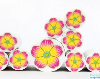 Yellow & Pink Polymer clay Flower cane , raw and unbaked polymer clay millefiori Fimo cane by Ronit Golan