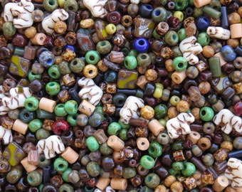 15mm to 3mm African Safari Mix Different Shapes and Sizes Czech Glass Beads 40 Grams (AS18)