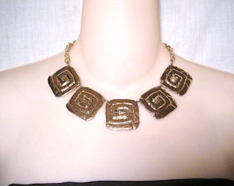 Vintage Park Lane Gold Tone Square Choker Necklace