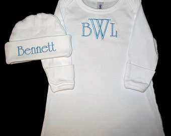 Hayes Font - Custom Personalized 3 INITIAL Monogram and NAME Infant Gown and Hat Set - You Choose Thread Color