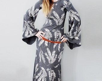 Keen Alchemist Dress || bell sleeve maxi dress, bohemian dress, American Milled Fabric, angel sleeve, Hand printed Maxi || by Simka Sol®