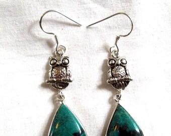 EARRINGS - OWL - CHRYSOCOLLA  - Dangle   -  Fish Hooks  - 925 -Sterling Silver        Earrings246