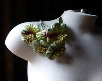 Green Ombre Flowers Velvet YoYo Millinery Flowers for Bridal, Boutonnieres, Headbands MF 213