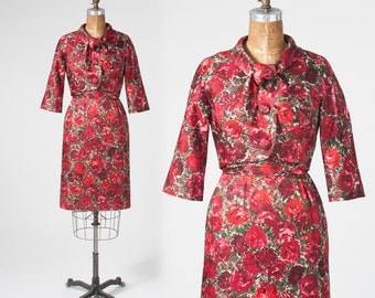 1950s Rose Silk Dress, Vintage Dress Set, Red Rose Floral, Bonwit Teller Couture, Two Piece Dress Jacket Set, Nipped Waist, Wiggle Dress
