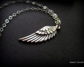 Sterling Silver Angel Wing Necklace - Sterling Silver Wing Necklace - Modern Sterling Silver Necklace - Sterling Silver Angel Necklace