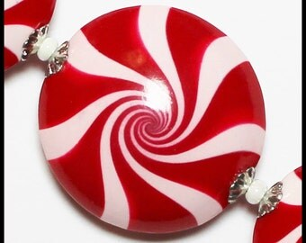 Peppermint Beads, Polymer Clay Beads, Handmade Beads, Lentils, Swirl, Spiral, Red and White, Silver Bead Caps, Christmas Beads, Candy Cane