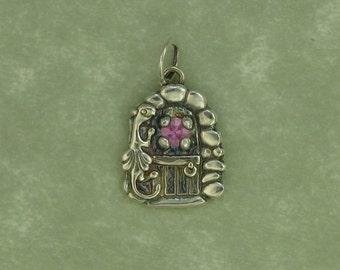 fine silver fairy door dragon pink sapphire pendant charm PMC DTPD