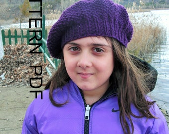 Digital Knitting  pattern hat - (Toddler, Child, Adult sizes)  Instant Download   Hat Knitting PATTERN PDF -Seed Stitch Beret  Pattern