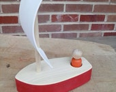 Wooden Toy Boat - Small sailboat with one peg person.  A Waldorf inspired wood toy.