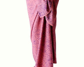 Beach Sarong Swimsuit Cover Up Womens Clothing Long Sarong Skirt Rose Quartz & Purple Batik Sarong Pareo Wrap Skirt Swimwear - Gift for Her