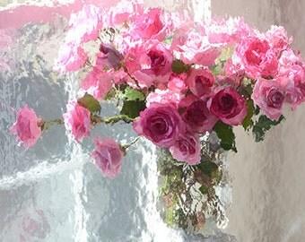 Roses Photography, Shabby Chic Decor, Dreamy Paris Roses Art Print, Impressionistic Paris Pink Roses Wall Art Prints, Paris Roses Wall Decor