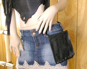 "Clip on hip bag, black pull up distressed cowhide leather, two trigger clips, with studs and a ball button, 7"" x 5.5"""