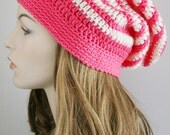 Slouchy Beanie Hat for Women Slouch Hat - Striped Womens Crochet Hat Arbor Rose & Ivory Unisex Hat Christmas Gift