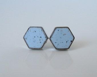 baby blue granite small RHODIUM plate hexagon stud earrings