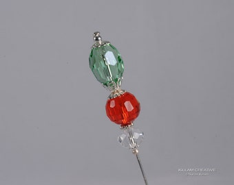 Christmas Stick Pin, 3 Inch Hat Pin, Red and Green Pin KC0486
