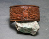 Handmade Leather Bracelet Eagle Design Hand Tooled Leather Jewelry Leather Accessories Wide Leather Cuff  Eagle and Flowers