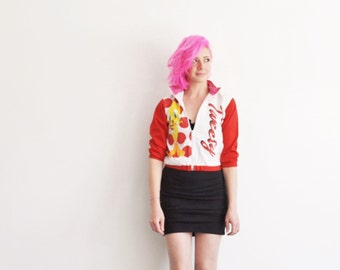 1990 tweety bird jacket . red pink hearts aw .extra small.xs .sale s a l e .disaster relief