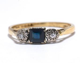 Sapphire and Diamond Platinum & 18K Ring - Size 7