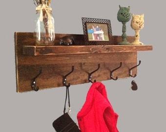 Rustic entryway shelf with hooks, coat rack with hooks, key holder, farmhouse decor, reclaimed wood shelf, entryway decor, shelf with hooks