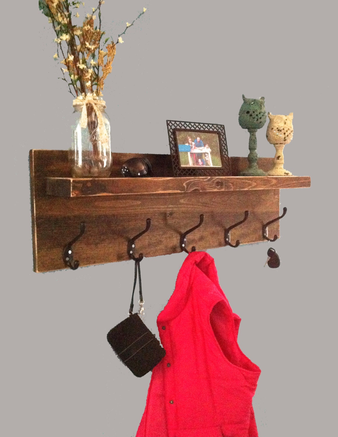 rustic entryway shelf with hooks coat rack with hooks key. Black Bedroom Furniture Sets. Home Design Ideas